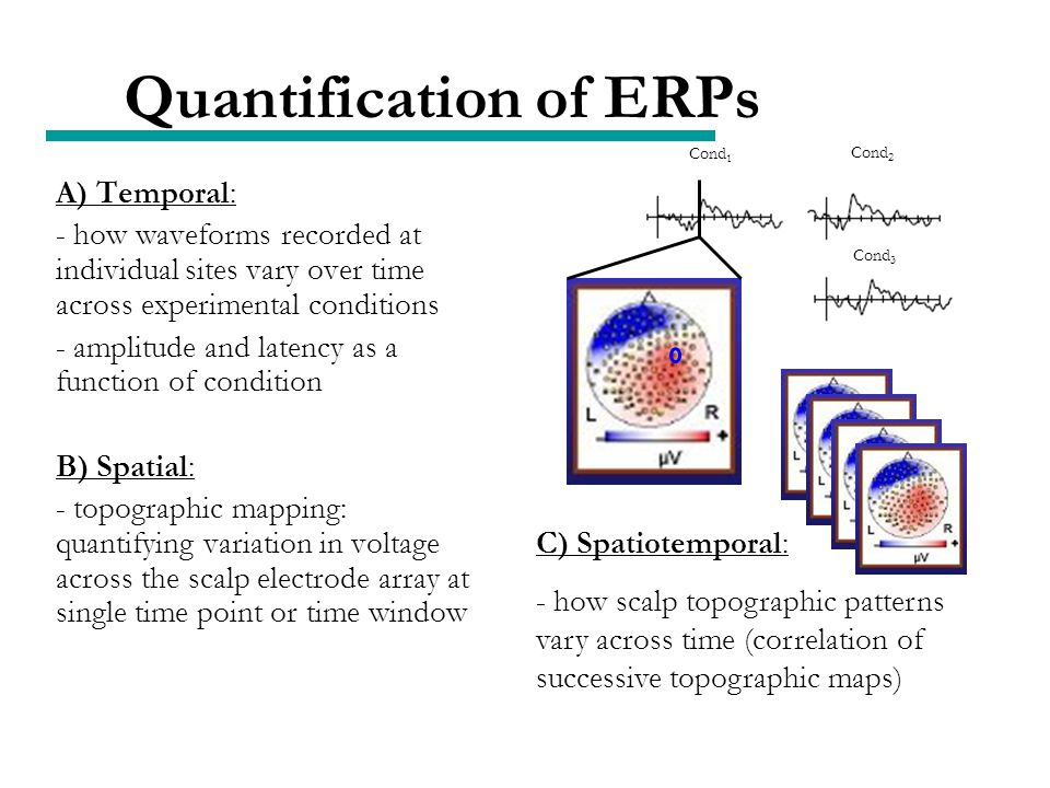 Quantification of ERPs A) Temporal: - how waveforms recorded at individual sites vary over time across experimental conditions - amplitude and latency as a function of condition B) Spatial: - topographic mapping: quantifying variation in voltage across the scalp electrode array at single time point or time window C) Spatiotemporal: - how scalp topographic patterns vary across time (correlation of successive topographic maps) Cond 1 Cond 2 Cond 3