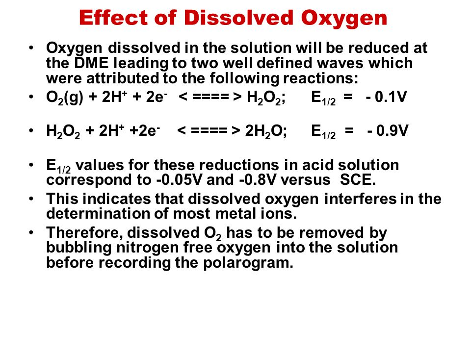 Effect of Dissolved Oxygen Oxygen dissolved in the solution will be reduced at the DME leading to two well defined waves which were attributed to the