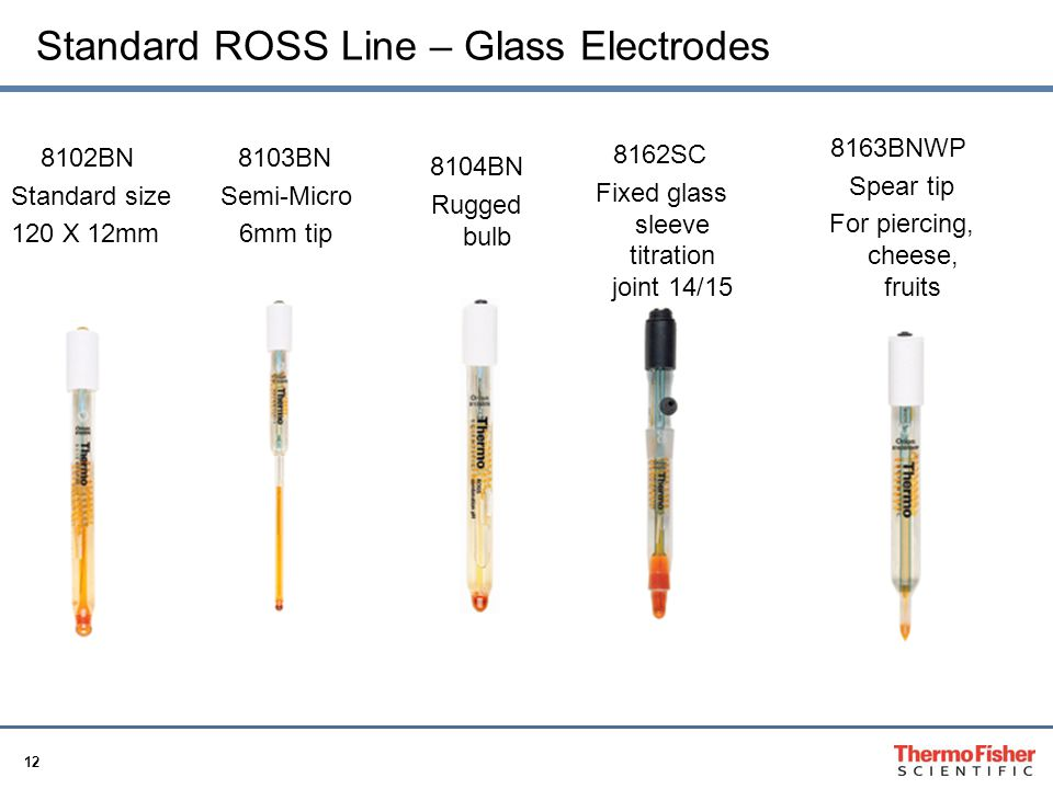12 Standard ROSS Line – Glass Electrodes 8102BN Standard size 120 X 12mm 8103BN Semi-Micro 6mm tip 8104BN Rugged bulb 8162SC Fixed glass sleeve titrat