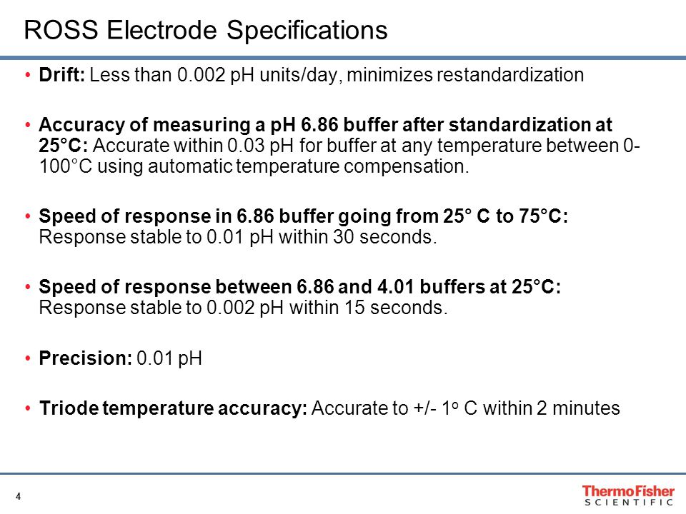 4 ROSS Electrode Specifications Drift: Less than 0.002 pH units/day, minimizes restandardization Accuracy of measuring a pH 6.86 buffer after standard