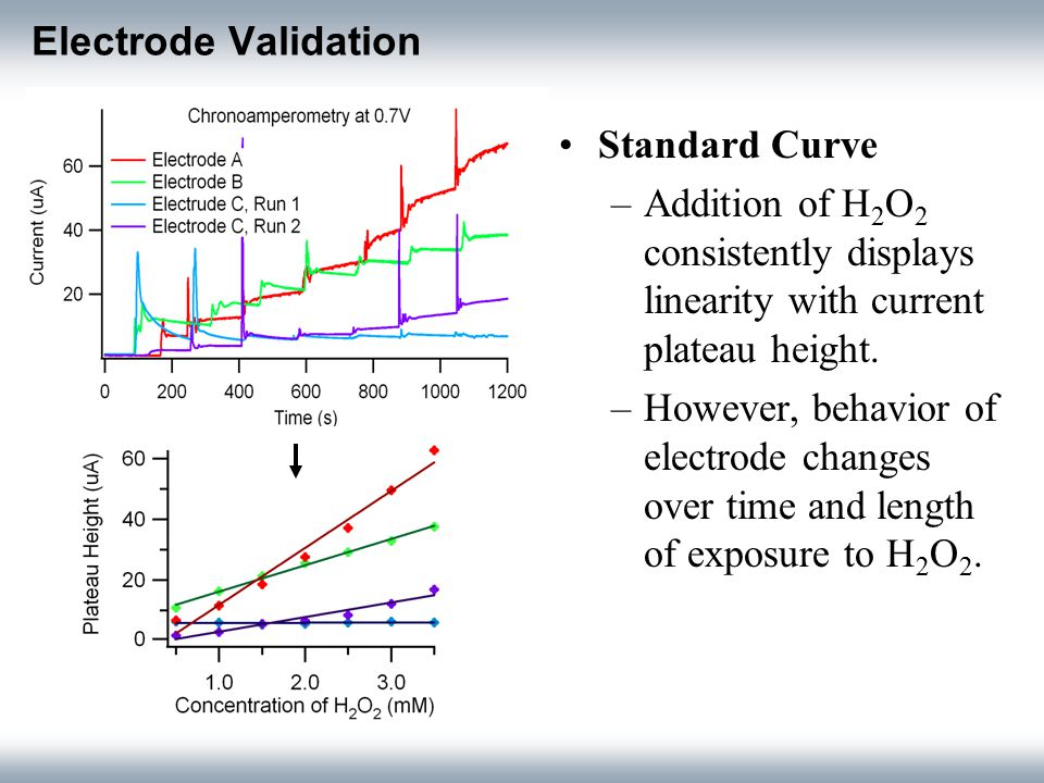 Electrode Validation Standard Curve –Addition of H 2 O 2 consistently displays linearity with current plateau height.