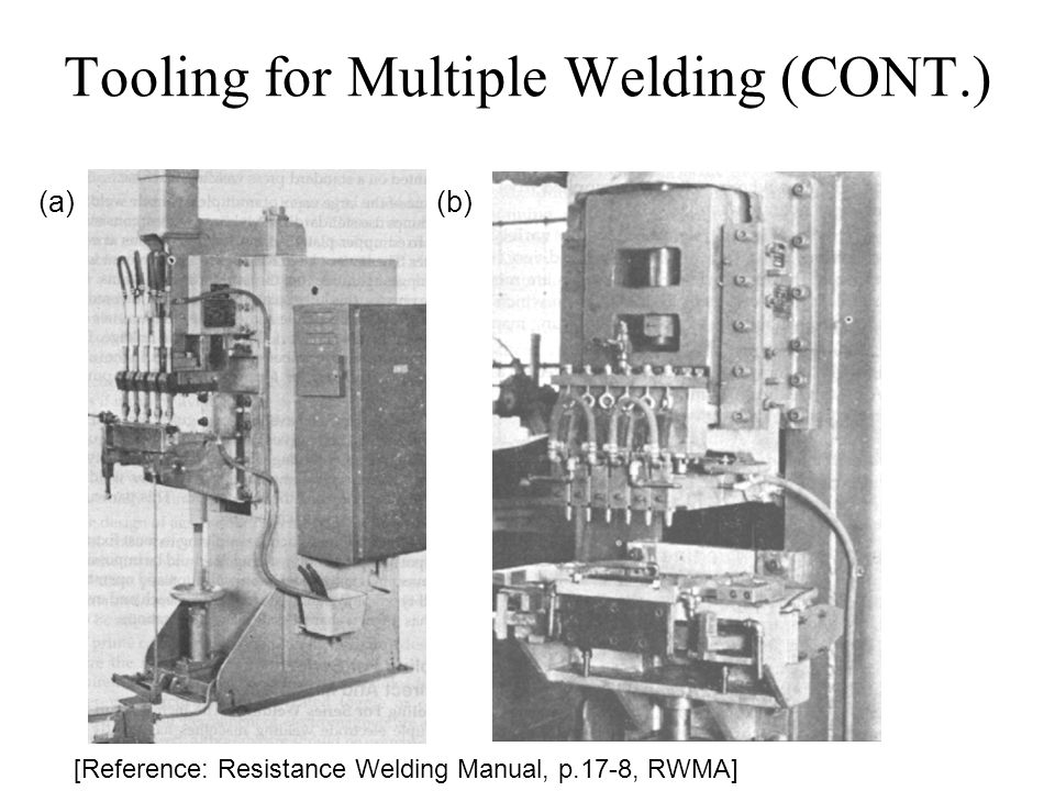 Tooling for Multiple Welding (CONT.) [Reference: Resistance Welding Manual, p.17-8, RWMA] (a) (b)