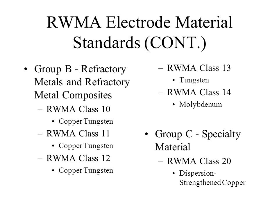 RWMA Electrode Material Standards (CONT.) Group B - Refractory Metals and Refractory Metal Composites –RWMA Class 10 Copper Tungsten –RWMA Class 11 Co