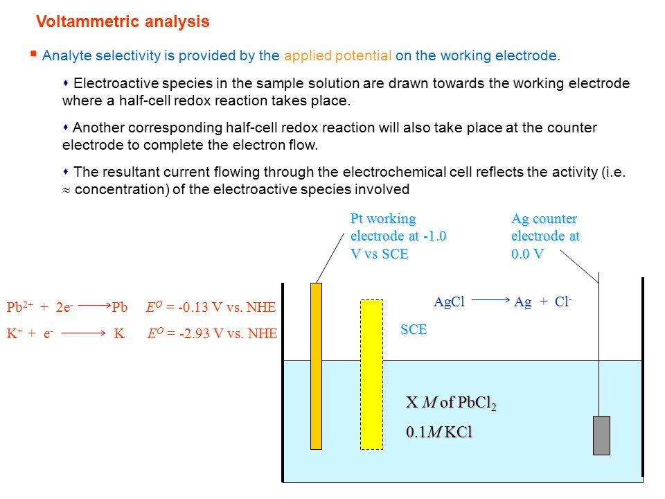Voltammetric analysis   Analyte selectivity is provided by the applied potential on the working electrode.   Electroactive species in the sample s