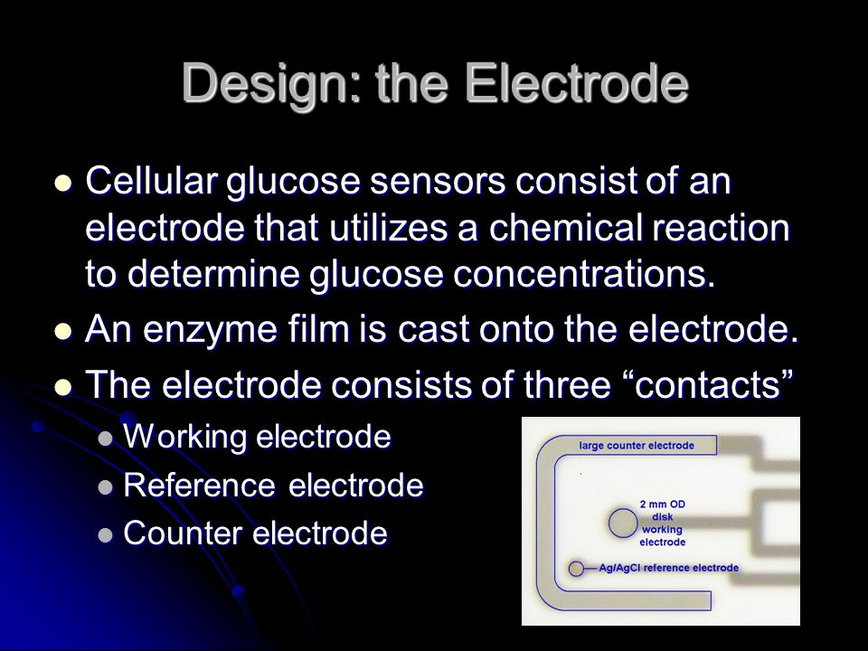 Design: the Electrode Cellular glucose sensors consist of an electrode that utilizes a chemical reaction to determine glucose concentrations. Cellular