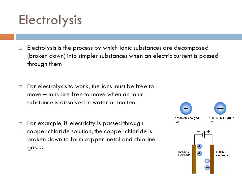 Electrolysis  Electrolysis is the process by which ionic substances are decomposed (broken down) into simpler substances when an electric current is