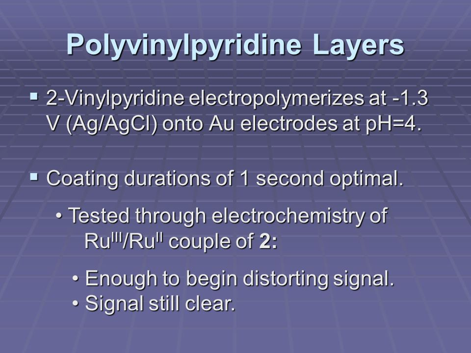 Polyvinylpyridine Layers  2-Vinylpyridine electropolymerizes at -1.3 V (Ag/AgCl) onto Au electrodes at pH=4.  Coating durations of 1 second optimal.