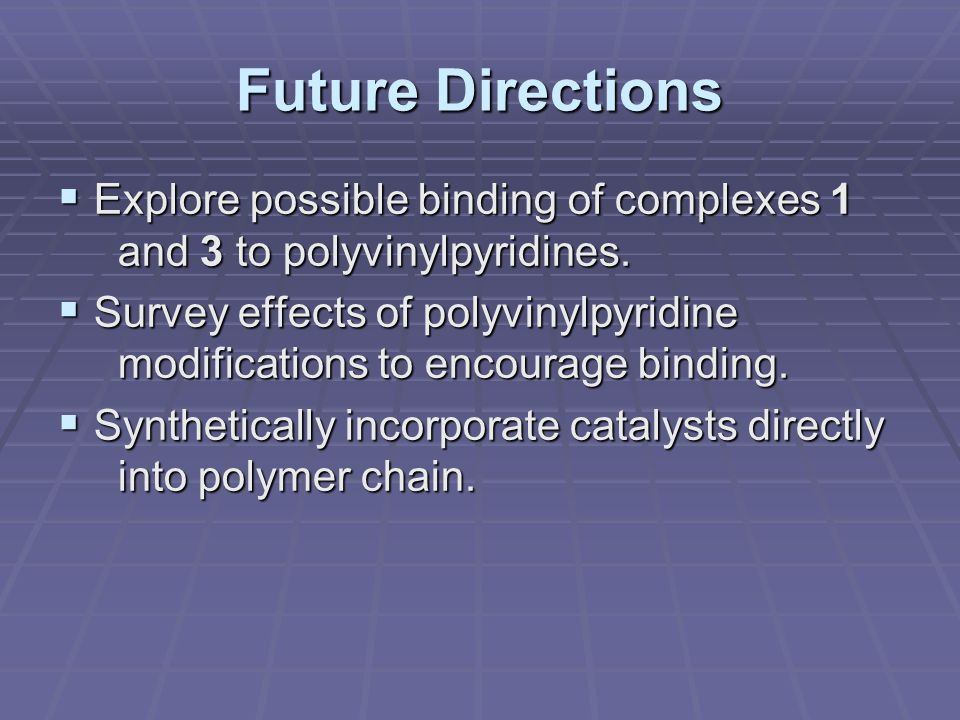 Future Directions  Explore possible binding of complexes 1 and 3 to polyvinylpyridines.  Survey effects of polyvinylpyridine modifications to encour