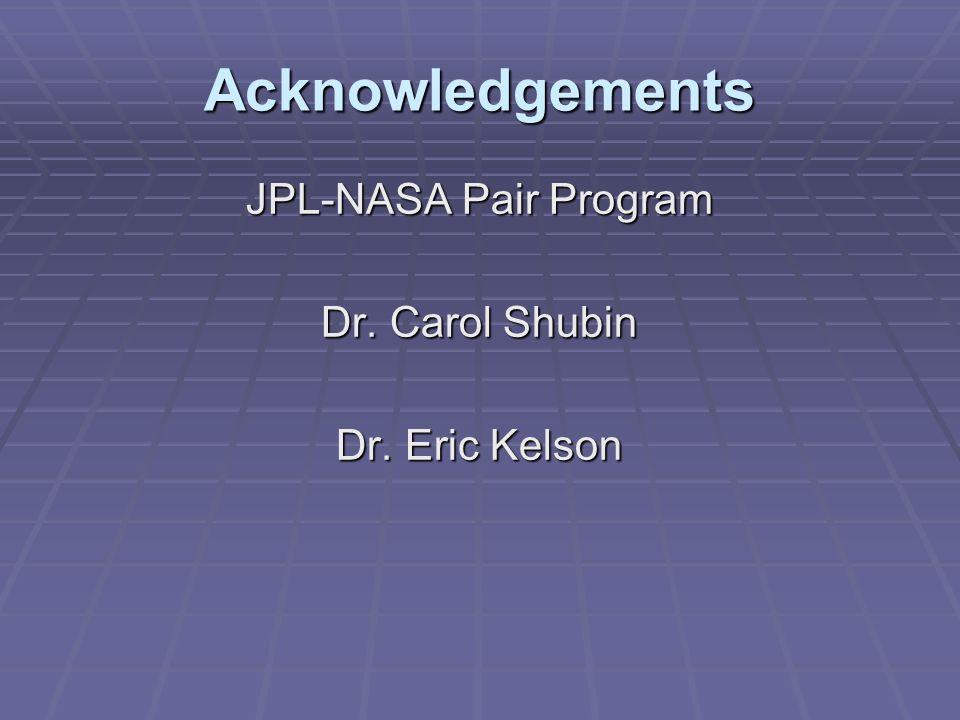 Acknowledgements JPL-NASA Pair Program Dr. Carol Shubin Dr. Eric Kelson