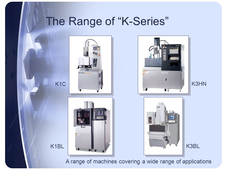 """The Range of """"K-Series"""" K1C K1BL K3HN K3BL A range of machines covering a wide range of applications"""