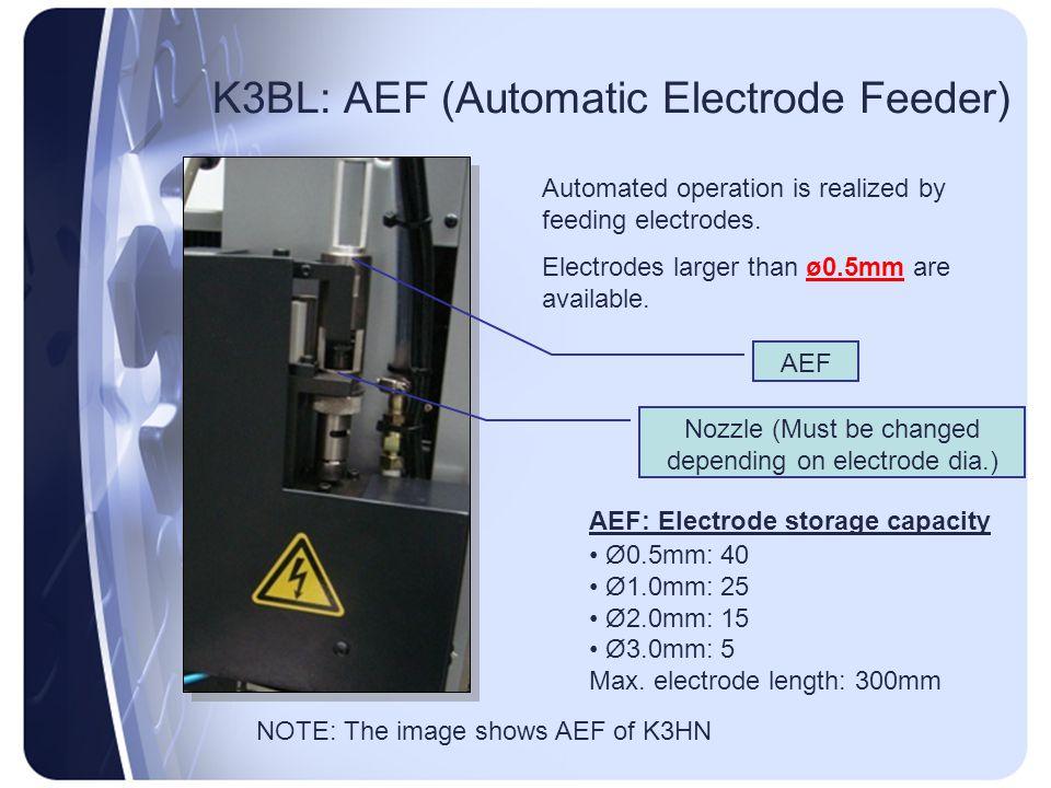 K3BL: AEF (Automatic Electrode Feeder) AEF: Electrode storage capacity Ø0.5mm: 40 Ø1.0mm: 25 Ø2.0mm: 15 Ø3.0mm: 5 Max. electrode length: 300mm Automat