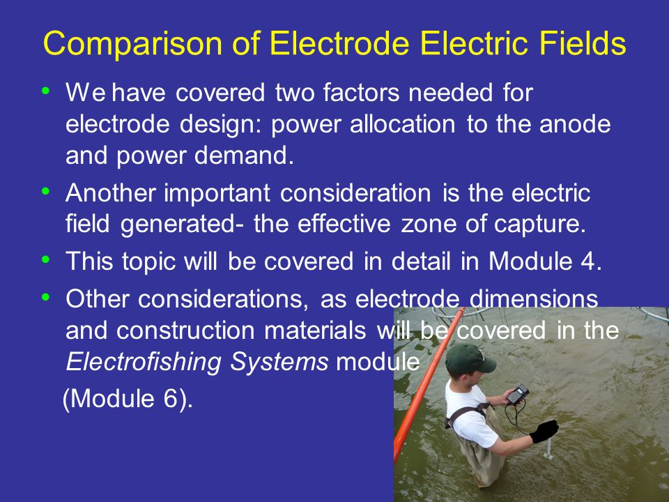 Comparison of Electrode Electric Fields We have covered two factors needed for electrode design: power allocation to the anode and power demand.
