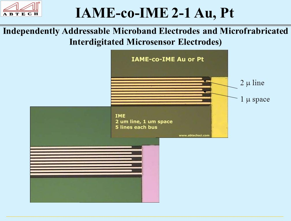 Independently Addressable Microband Electrodes and Microfrabricated Interdigitated Microsensor Electrodes) 2  line 1  space
