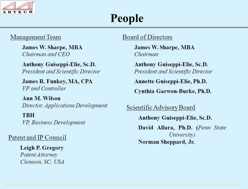 People Scientific Advisory Board Anthony Guiseppi-Elie, Sc.D.