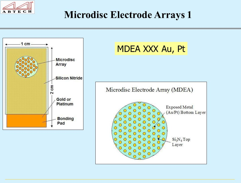 MDEA XXX Au, Pt Microdisc Electrode Arrays 1