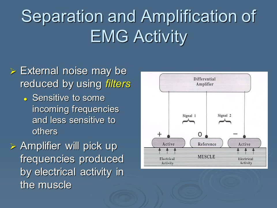 Separation and Amplification of EMG Activity  Ability of the differential amplifier to eliminate the common noise shared by the active electrodes is called the common mode rejection ratio (CMRR)