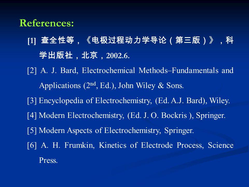 References: [1] 查全性等,《电极过程动力学导论(第三版)》,科 学出版社,北京, 2002.6. [2] A. J. Bard, Electrochemical Methods–Fundamentals and Applications (2 nd, Ed.), John Wiley