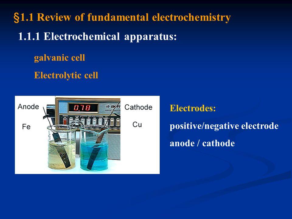 1.1.2 Types of electrode: 1) metal / metal ion electrode 2) metal / insoluble salt electrode 3) redox electrode 4) membrane electrode 5) intercalation electrode 6) modification electrode 7) semiconductor electrode 8) insulator electrode