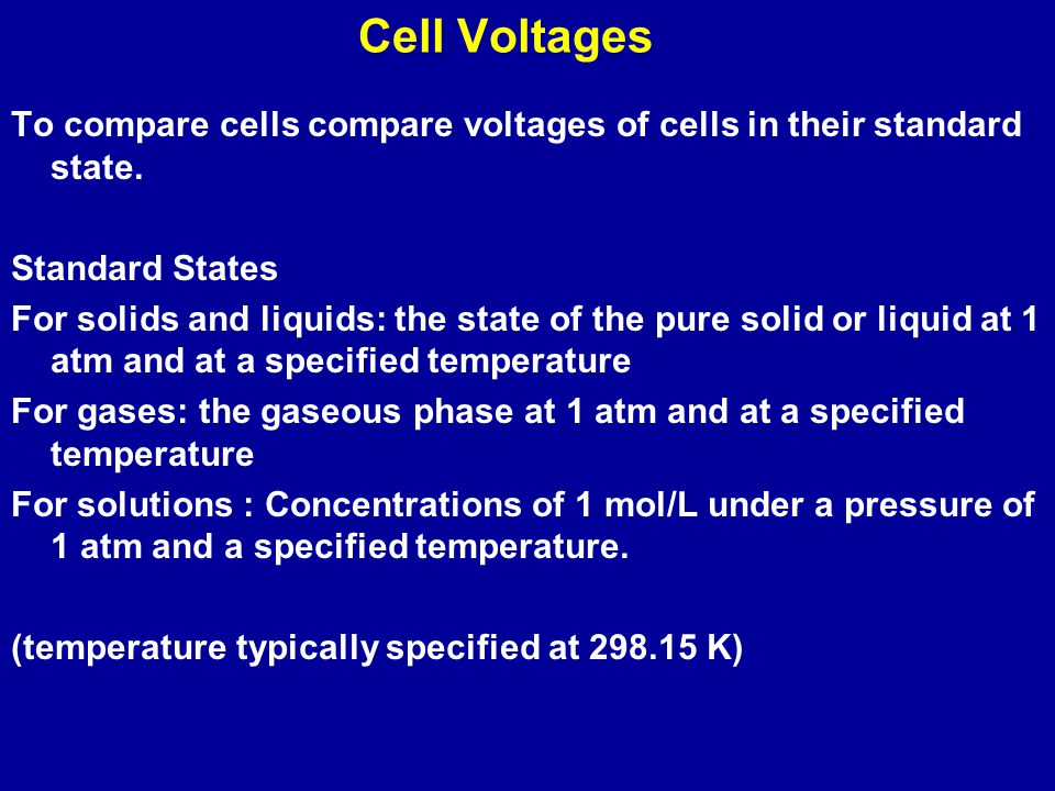  E o is the standard cell voltage or potential of a standard cell - when all reactants and products are in their standard state.