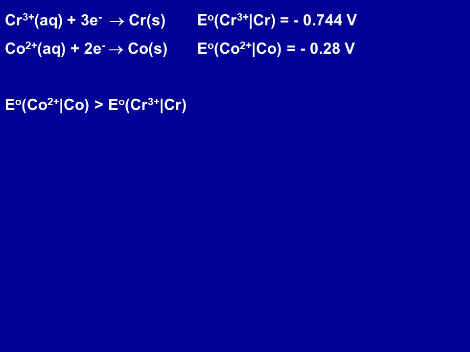 Define the following half reaction to be the reference 2 H + (aq, 1 M) + 2e - -> H 2 (g, P = 1 atm) E o = 0 V All standard reduction potentials are determined relative to this reference.