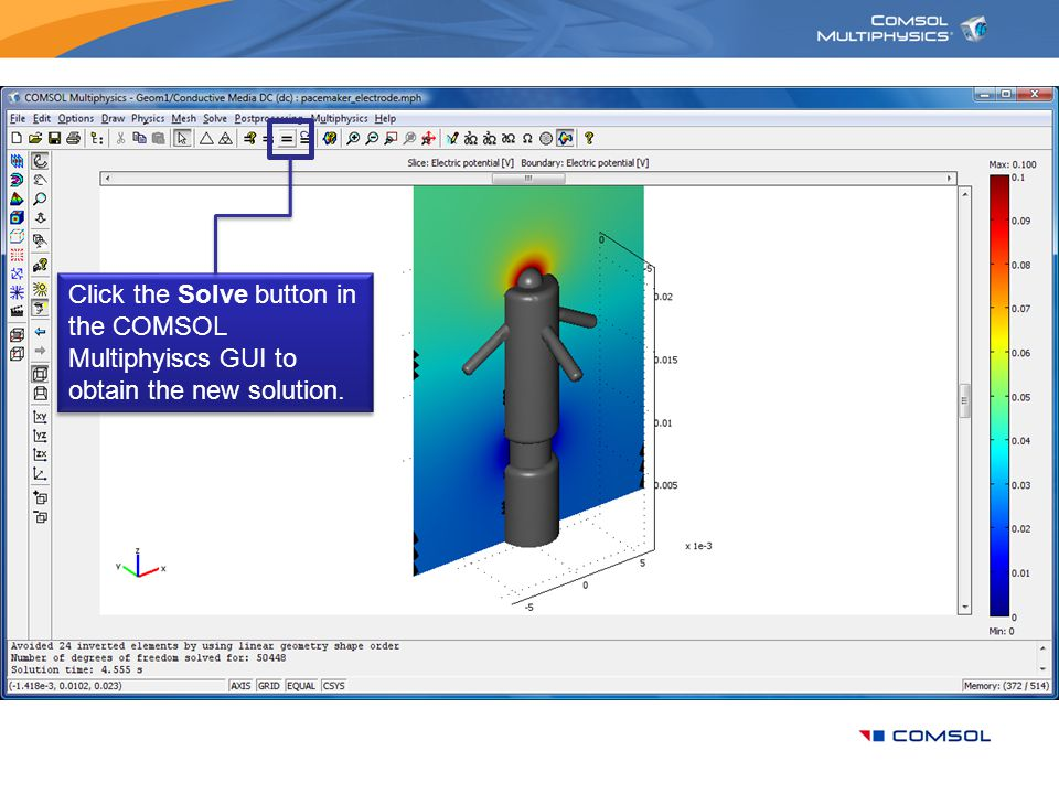 Click the Solve button in the COMSOL Multiphyiscs GUI to obtain the new solution.