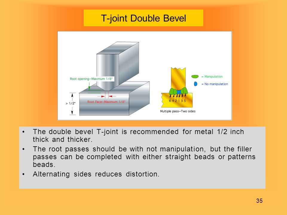 35 T-joint Double Bevel The double bevel T-joint is recommended for metal 1/2 inch thick and thicker. The root passes should be with not manipulation,