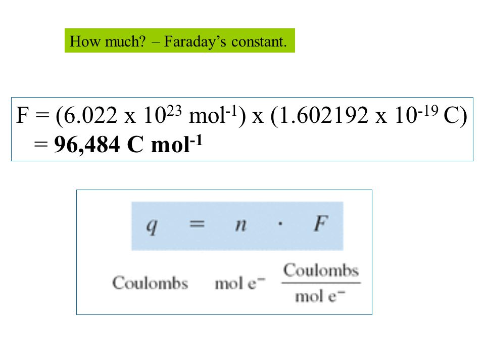 F = (6.022 x 10 23 mol -1 ) x (1.602192 x 10 -19 C) = 96,484 C mol -1 How much? – Faraday's constant.