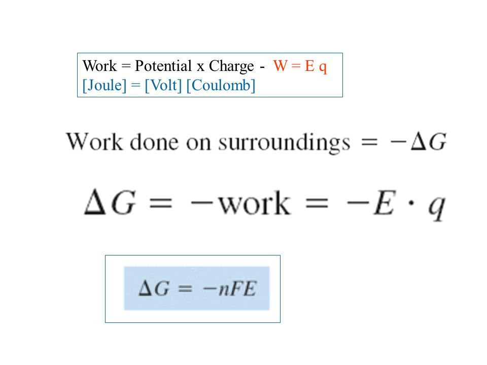 Work = Potential x Charge - W = E q [Joule] = [Volt] [Coulomb]