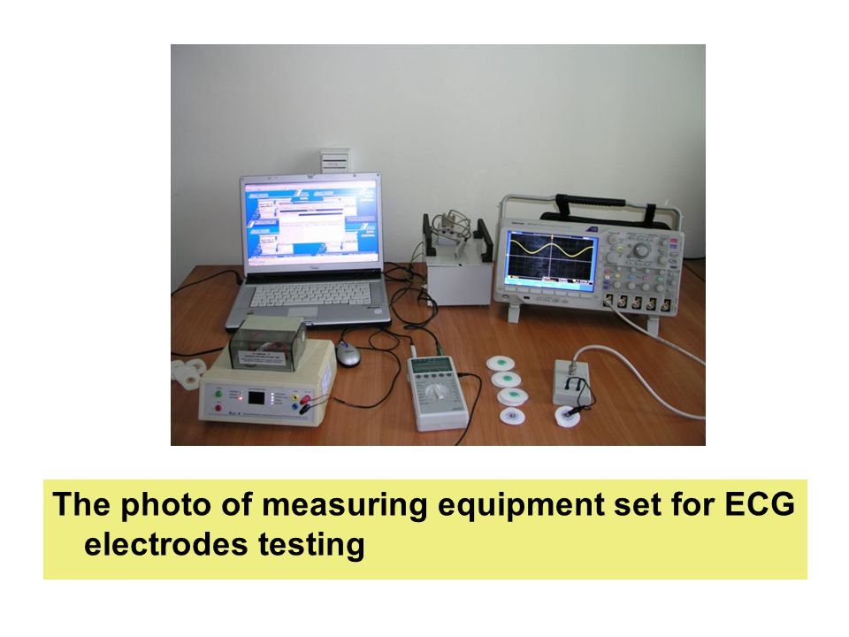 The photo of measuring equipment set for ECG electrodes testing