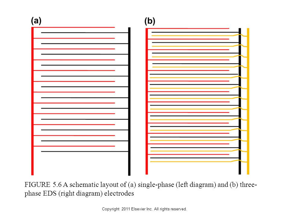 Copyright 2011 Elsevier Inc. All rights reserved. FIGURE 5.6 A schematic layout of (a) single-phase (left diagram) and (b) three- phase EDS (right dia