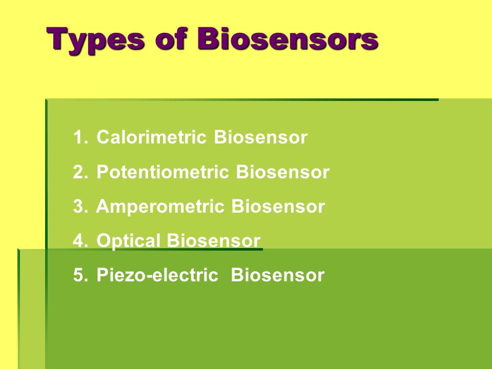 Types of Biosensors 1. Calorimetric Biosensor 2. Potentiometric Biosensor 3. Amperometric Biosensor 4. Optical Biosensor 5. Piezo-electric Biosensor