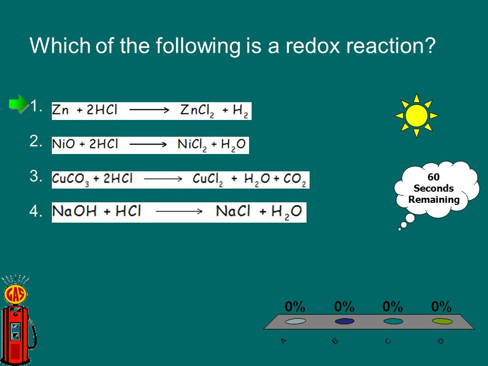 Which of the following is a redox reaction? 1.A 2.B 3.C 4.D 60 Seconds Remaining