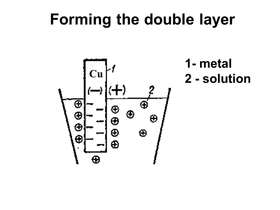 Forming the double layer 1- metal 2 - solution Cu