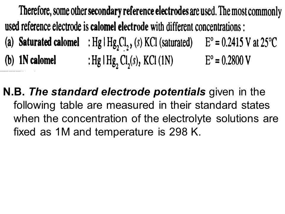 N.B. The standard electrode potentials given in the following table are measured in their standard states when the concentration of the electrolyte so
