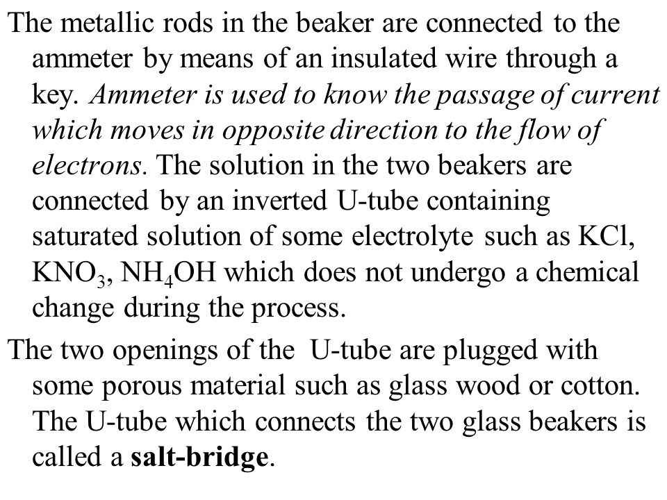 The metallic rods in the beaker are connected to the ammeter by means of an insulated wire through a key. Ammeter is used to know the passage of curre