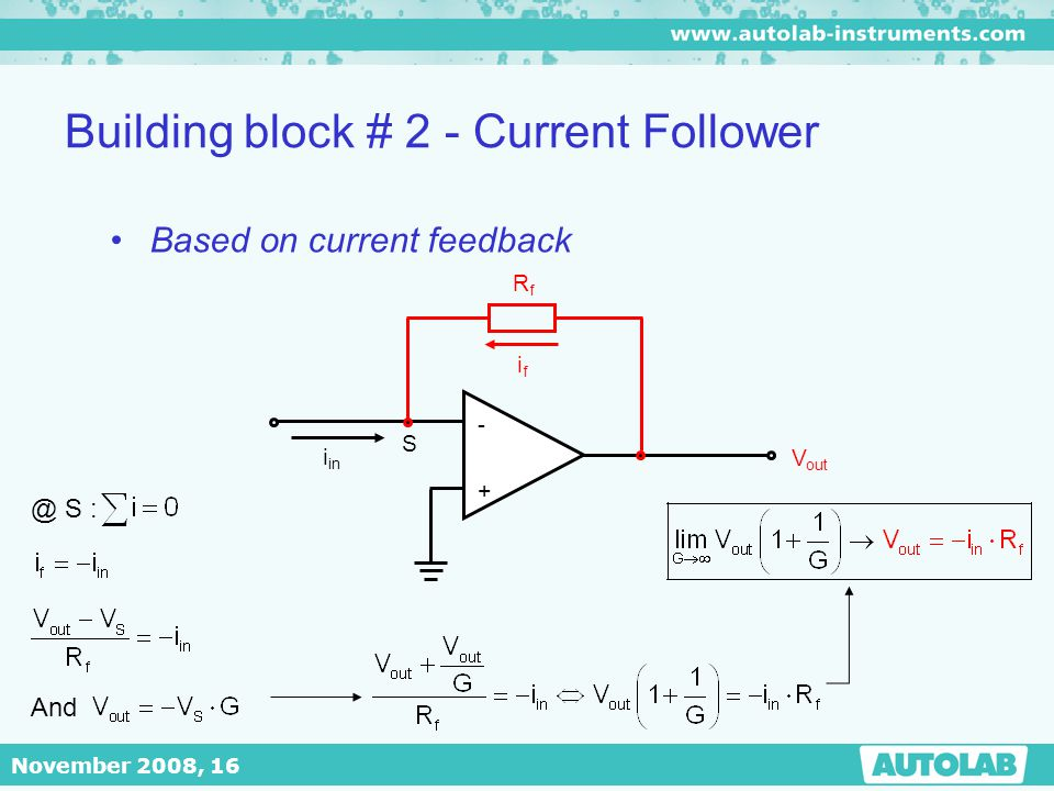 November 2008, 16 Building block # 2 - Current Follower Based on current feedback - + V out i in RfRf ifif S @ S : And