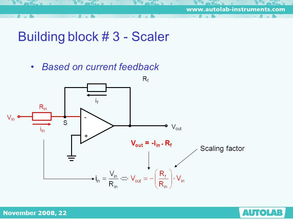 November 2008, 22 Building block # 3 - Scaler - + V out RfRf ifif S R in V in i in V out = -i in  R f Based on current feedback Scaling factor