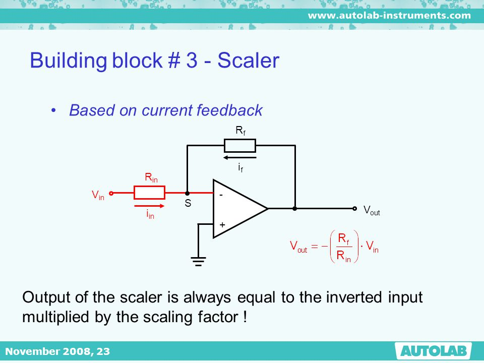 November 2008, 23 Building block # 3 - Scaler - + V out RfRf ifif S R in V in i in Based on current feedback Output of the scaler is always equal to t