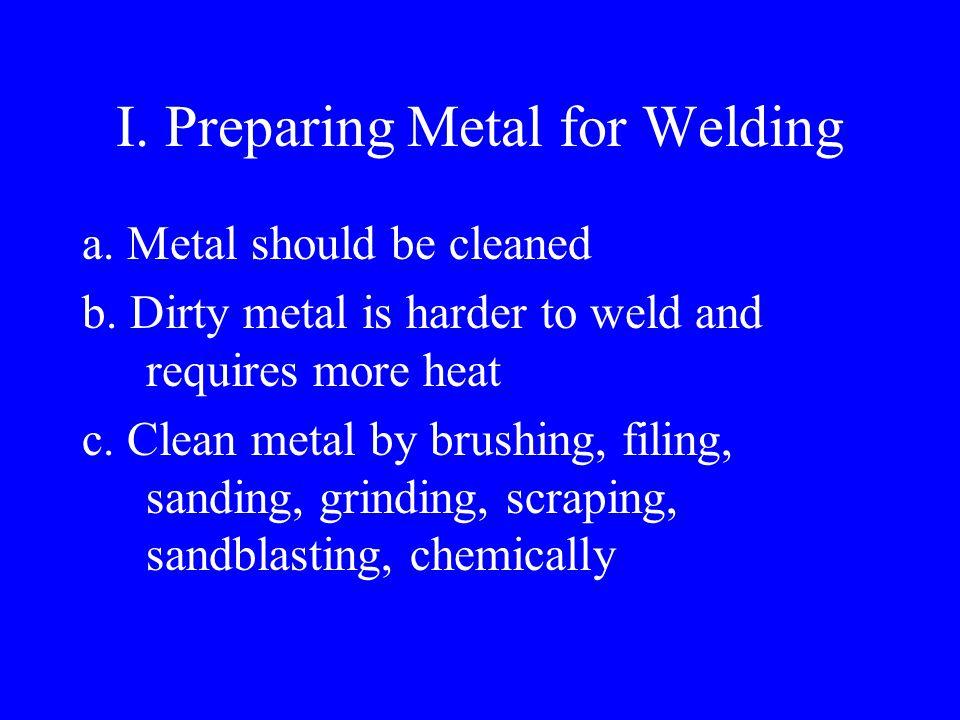 8 Essentials to a Proper Weld Proper electrode Metal preparation Proper amperage Proper electrode angle Proper arc length Correct travel speed Proper curing of finished weld Good connected ground