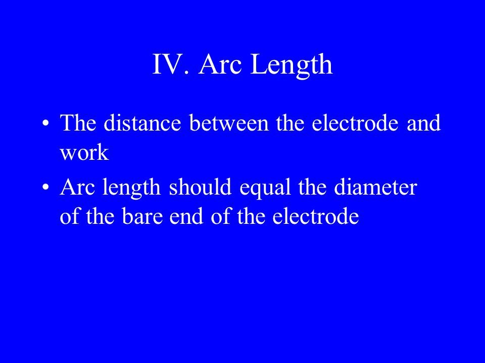 III. Electrode Angle A.Flat welds – electrode angle should be 15 degrees to the direction of travel and 90 degrees to each side B.Vertical welds – ele