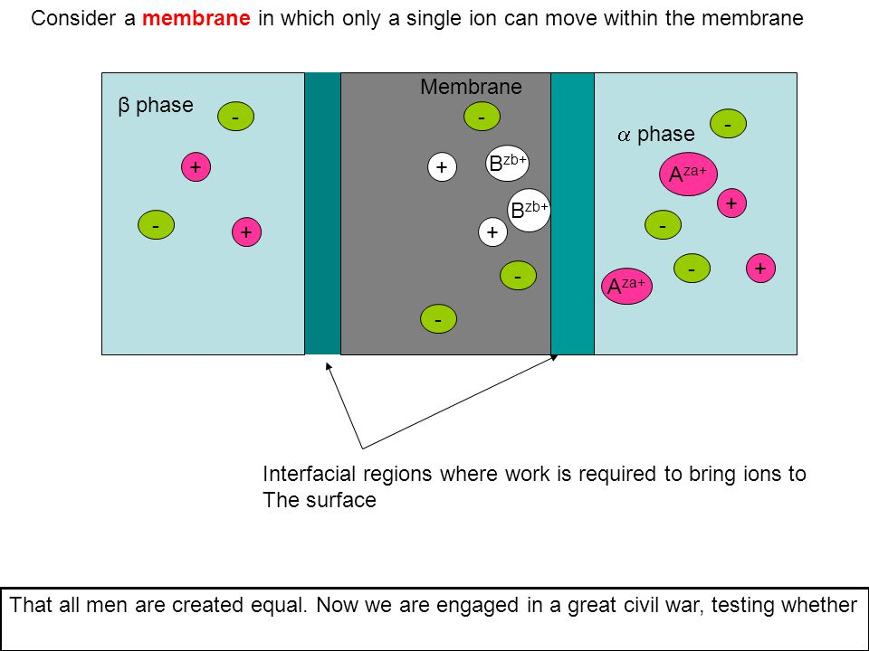  phase β phase V reference Fix this activity This term represents the work it takes to move an ion of charge a in a potential field at the interface This term represents The diffusion gradient between The two phases Represents the work at the interface And the composition of the inner compartment that nation, or any nation, so conceived and so dedicated, can long endure.