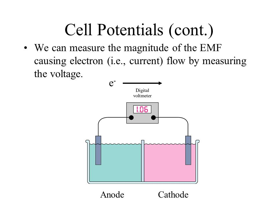 Cell Potentials In our galvanic cell, we had a species being oxidized at the anode, a species being reduced at the cathode, and electrons flowing from anode to cathode.