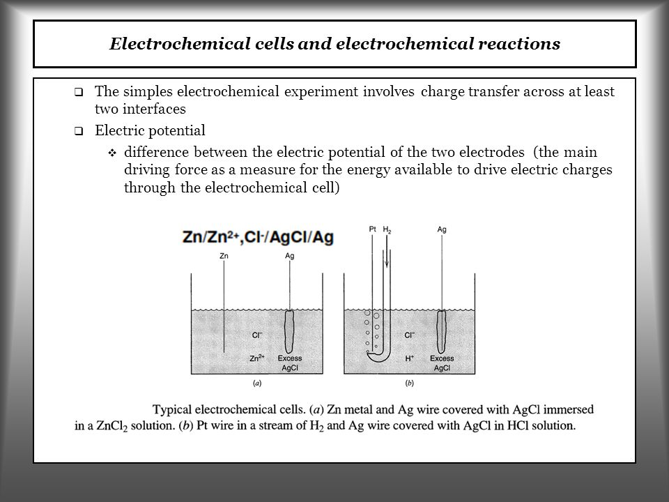   Electrical potential (E (V – volt)) is a measure for the potential energy of a charge in an electric field;   The difference in the potential (potential energy) causes a charged species to move in the electric field (charge transfer)   Potential of 1 V (volt) is equivalent to the potential energy of 1J of a charged species with a charge of 1 C (coulomb)   Charge transfer in time is called electric current (I (A – ampere) Electric potential and current