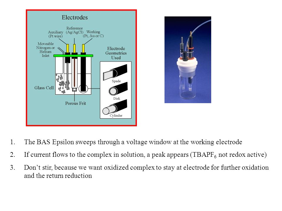 1.The BAS Epsilon sweeps through a voltage window at the working electrode 2.If current flows to the complex in solution, a peak appears (TBAPF 6 not