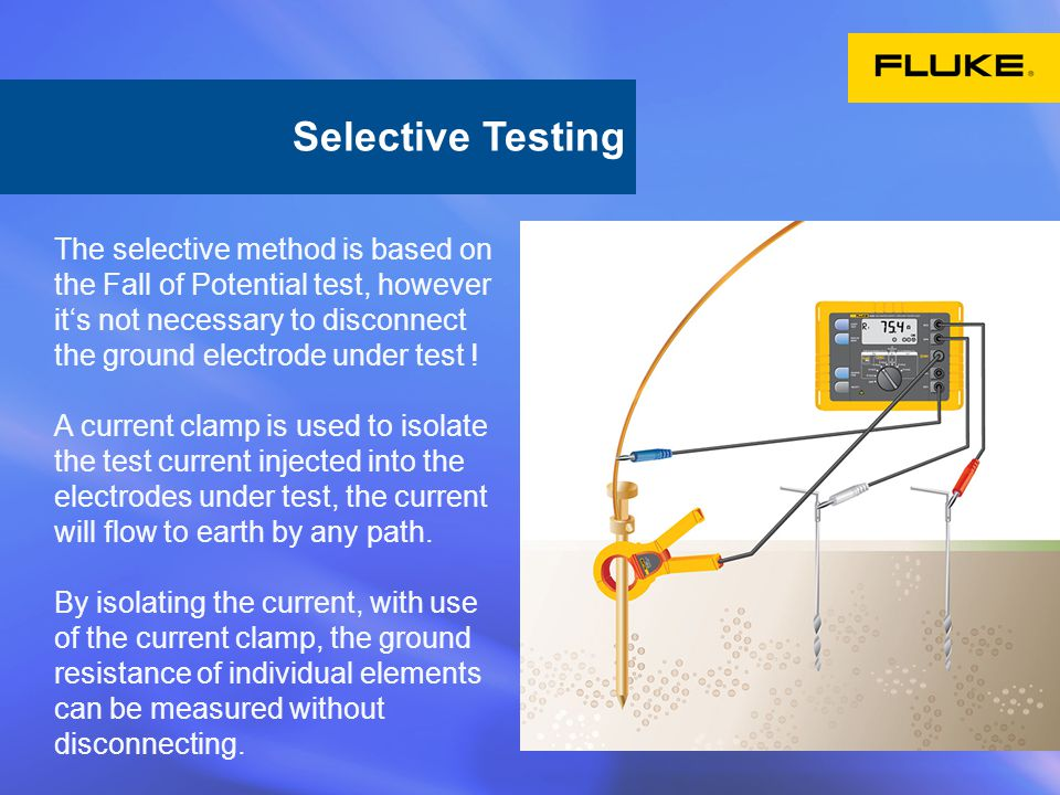 The selective method is based on the Fall of Potential test, however it's not necessary to disconnect the ground electrode under test .