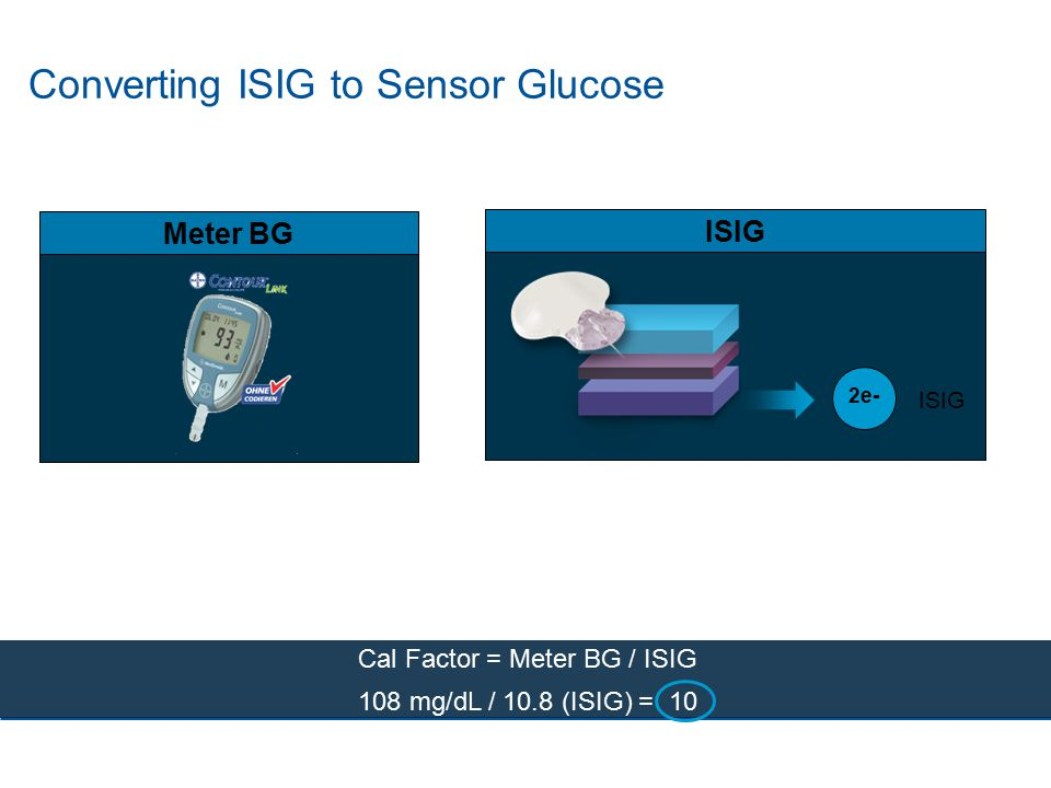 Converting ISIG to Sensor Glucose ISIG Meter BG Cal Factor = Meter BG / ISIG 108 mg/dL / 10.8 (ISIG) = 10 2e-