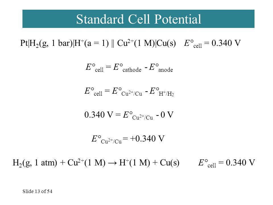 Slide 13 of 54 Standard Cell Potential Pt|H 2 (g, 1 bar)|H + (a = 1) || Cu 2+ (1 M)|Cu(s) E° cell = 0.340 V E° cell = E° cathode - E° anode E° cell =