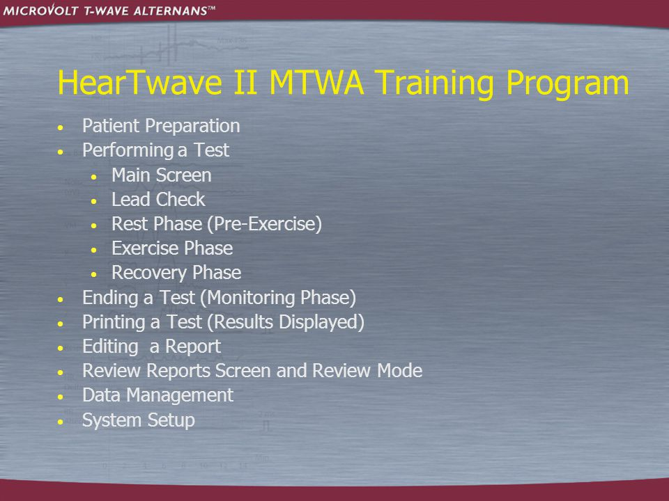 Performing a Test: Exercise Phase  Note there are two pie graphs on the HearTwave II screen:  First Pie (bottom)  2.5 minutes between 100-110 BPM  Second Pie (top)  1.5 minutes between 110-120 BPM  In an ideal test, the first pie is filled to 100%, and then the second pie fills to 100%, followed by recovery back to the resting heart rate.