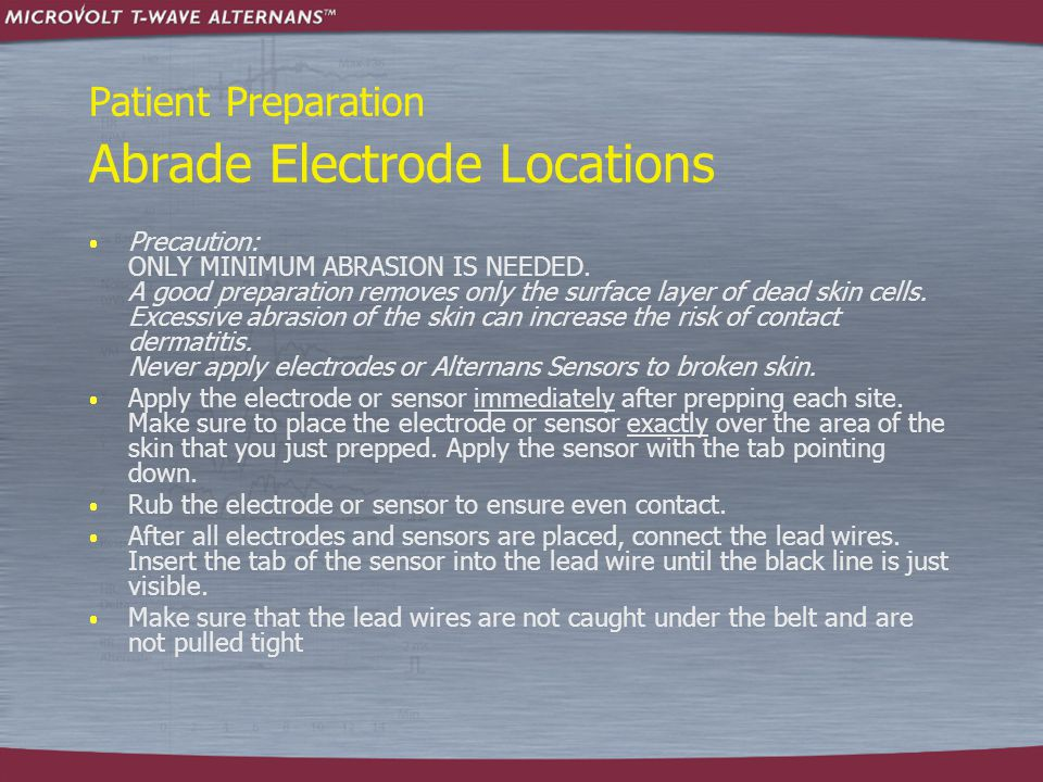 Patient Preparation Electrode Placement – Flat Man  Attach Micro-V and standard leads in the positions indicated below.