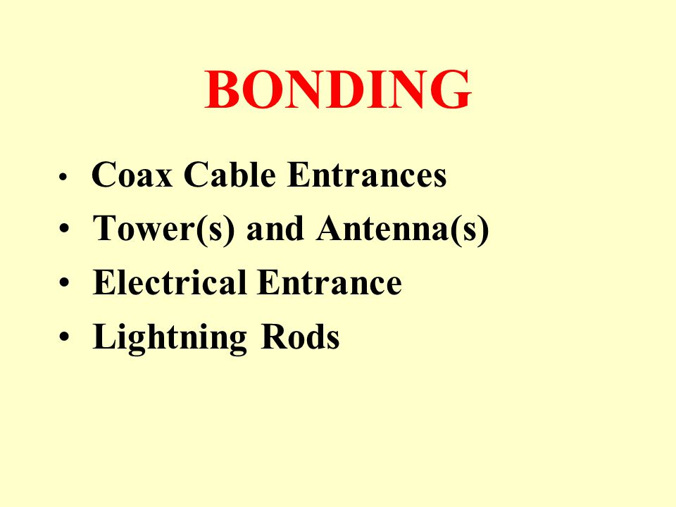 BONDING Coax Cable Entrances Tower(s) and Antenna(s) Electrical Entrance Lightning Rods